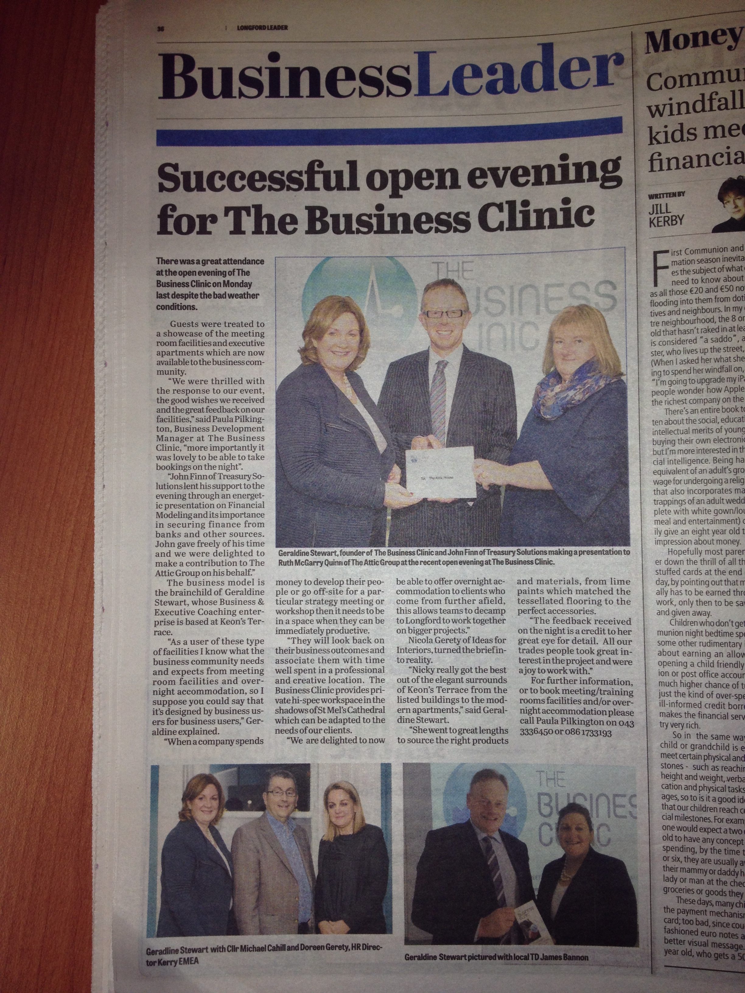 Longford Leader Editorial March 2015 - The Business Clinic