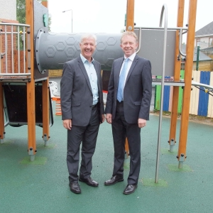 John Finn with Diarmuid O'Mathuna, Chairman Sonas Special School